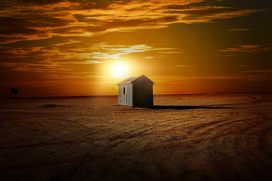 casa, campo, escena rural, atardecer, ocaso, puesta de sol, cabaña, solo, una, uno, solitario, campo, galpon, granero, pequeño,