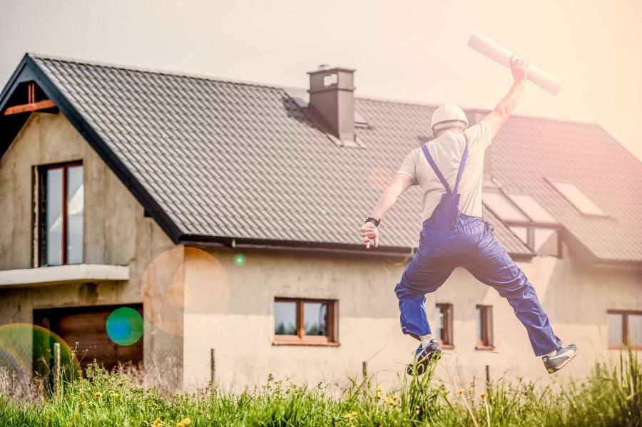 arquitecto, constructor, casa, planos, arquitectura, hombre, adulto, alegria, saltar, profesion,