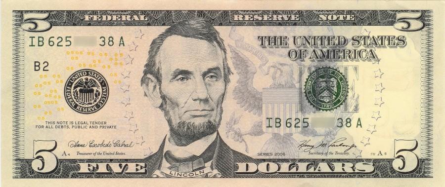 billete, dinero, 5 dolares, cinco, 5, dolar, economia, finanzas,