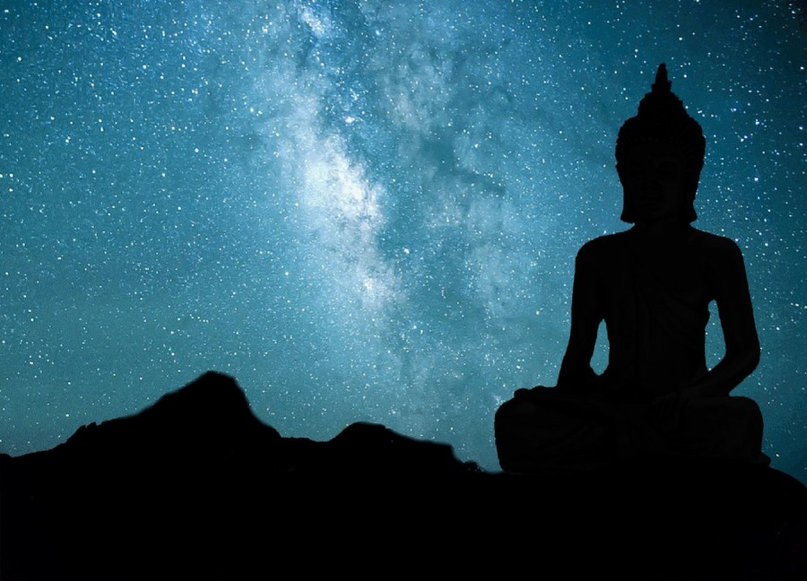buda, budismo, estatua,cielo, estrellas, universo, espiritualidad, via lactea, religion,