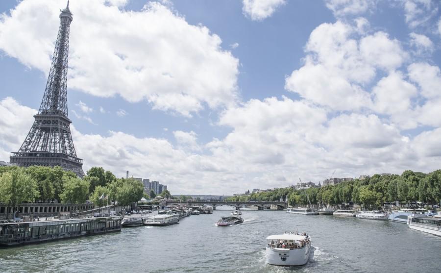 paris, rio, sena, francia, europa, paisaje, monumento, torre eiffel, embarcacion, bote, navegar, verano, bote,