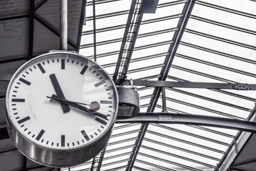 reloj, tiempo, hora, estacion, blanco y negro, nadie,