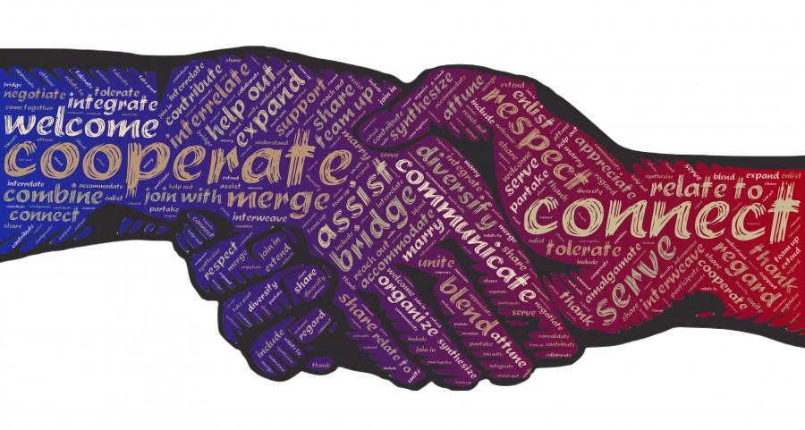 apretón de manos, respecto, cooperar, conectar, unir, conexión, personas, la comunicación, equipo, asociación, fraternidad, personas que se conectan, unificar, unidad, tolerancia, respeto, servicio, preocuparse por, comunidad, intenta comunicarte, trabajo en equipo, apoyo, amistad, cooperación, relación, manos, colaborar, puente, ilustracion