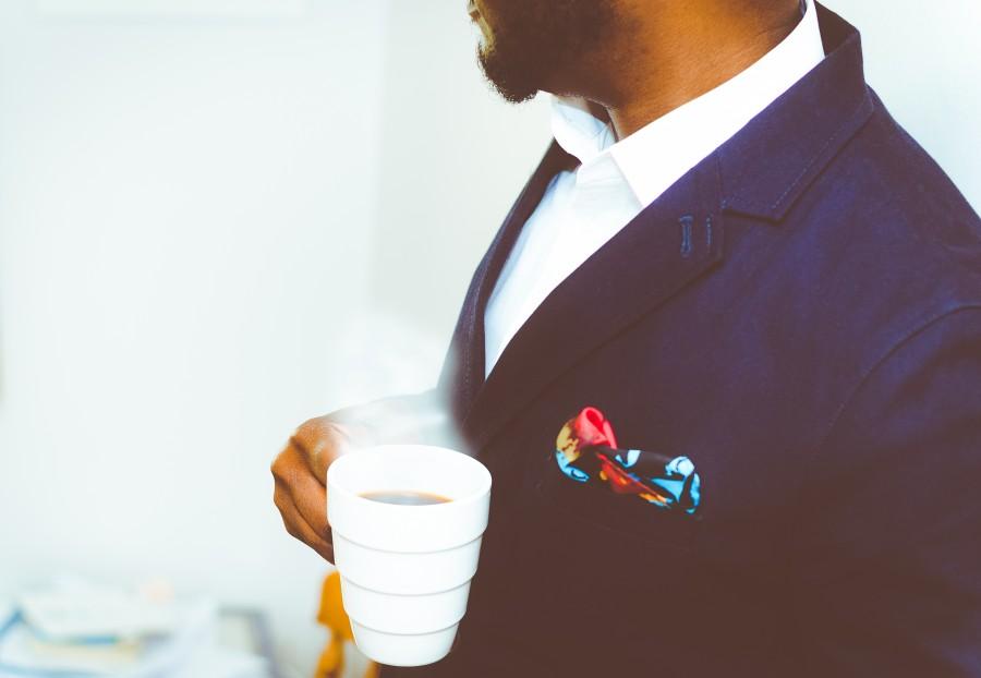 hombre, juego, moda, hombre, caballero, gente, bolsillo, cafe, elegante, bebida, caliente, taza, traje, pañuelo,