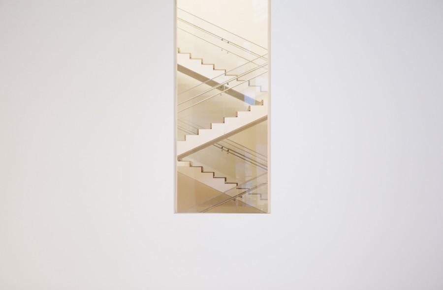 escalera, arquitectura, blanco, moderno, pintura, cuadro, arte,