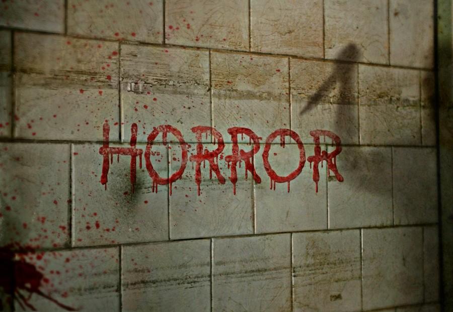 terror, horror, sucio, pared, sangre, palabra, miedo, descuidado, concepto, halloween,