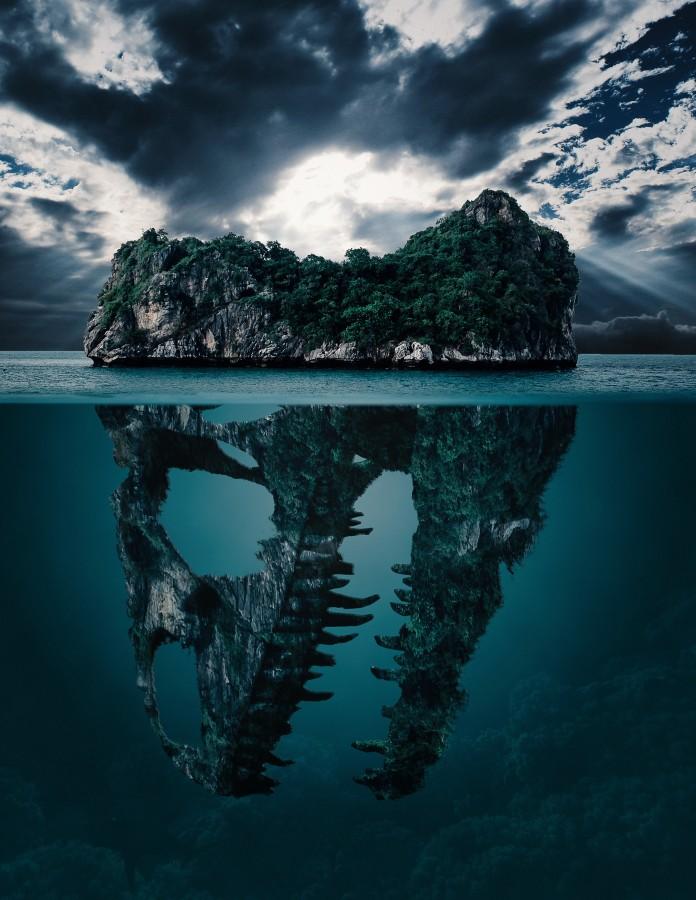 misterio, isla, secreto, fondo, papel pintado, desaparición, dinosaurio, dinosaurios, cráneo, cráneos, mar, océano, aislado, oculto, de miedo, fantasía, elaboración, arte, nubes, nubosidad, paisajes, sky , fotos gratis, imágenes gratis, fondo de pantalla hd