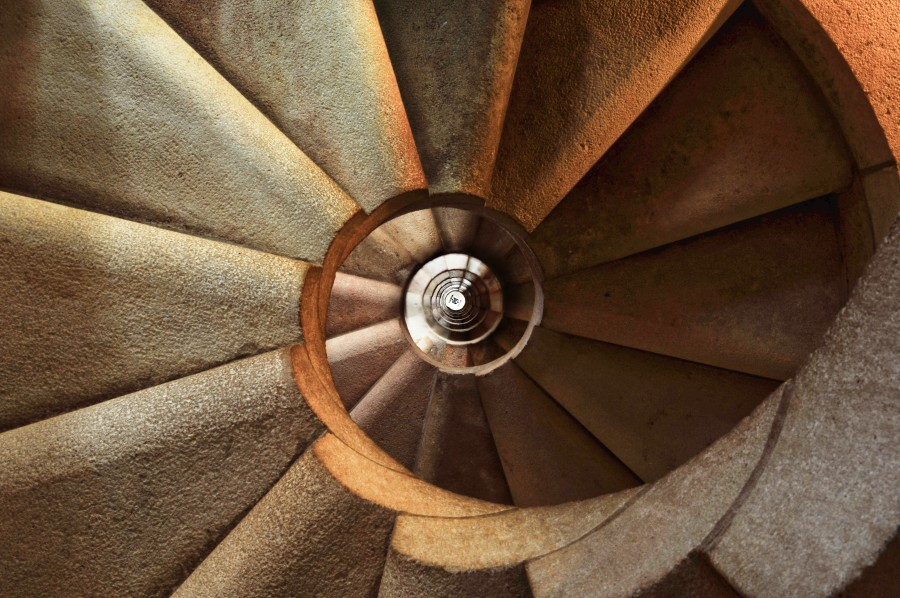 Sagrada Familia, abstract, architecture, background, carving, climb, fibonacci, spiral, spiral staircase, stairs, stone,