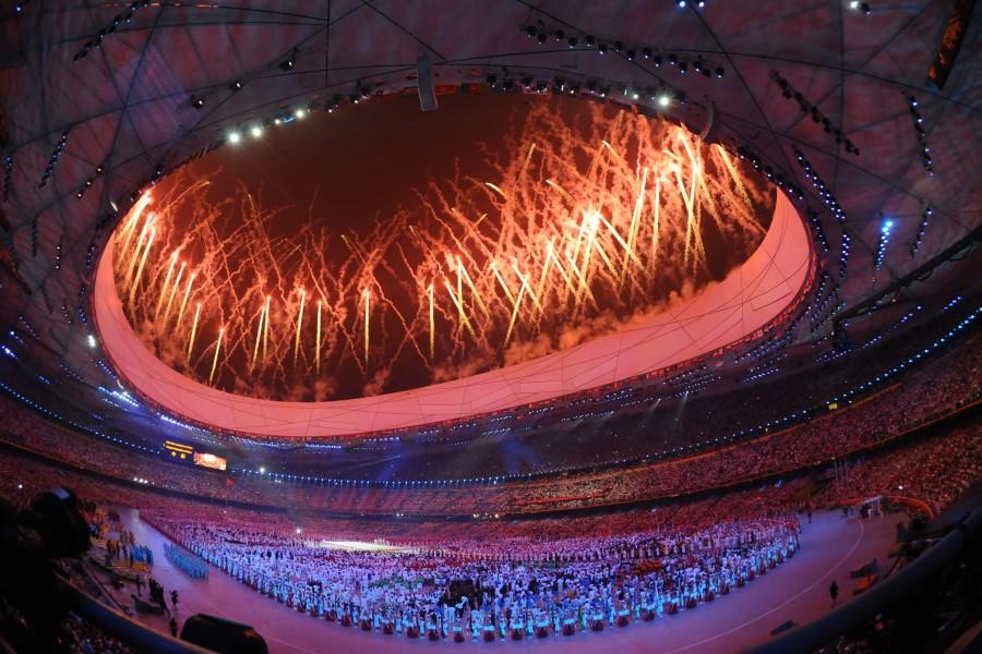 estadio, olimpiadas, olimpico, ceremonia, fuegos artificiales, beijing, china, celebracion, deporte, deportivo,