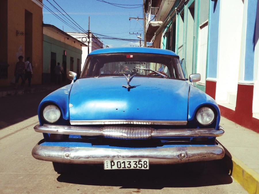cadillac, azul, 50s, antiguo, auto, coche, carro, habana, cuba, calle, urbano, ciudad, dia, nadie, vintage,