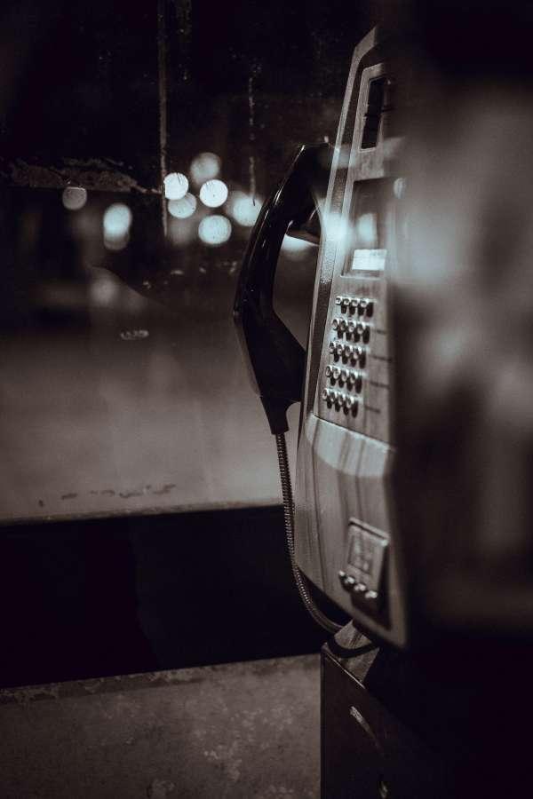 telefono, publico, exterior, noche, antiguo, vintage, comunicacion,
