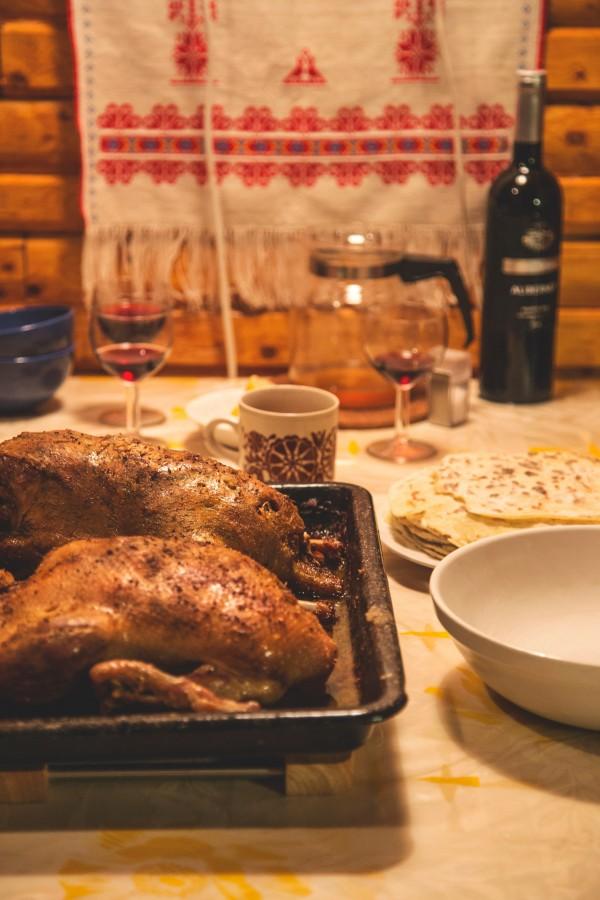 cena, comida, vino, mesa, pollo, fuente, carne, nadie, hogar,
