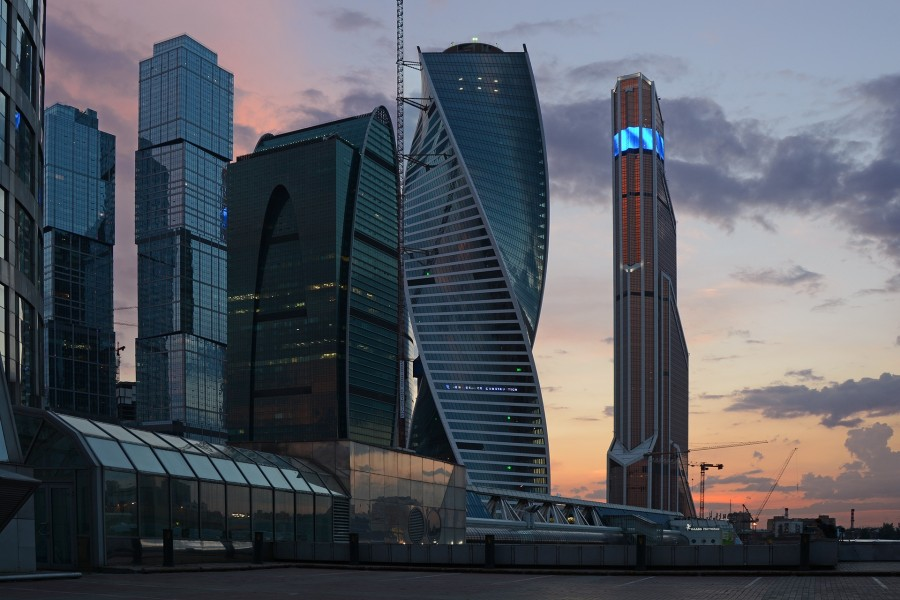 moscu, rusia, asia, ciudad, moderno, arquitectura, atardecer, paisaje urbano,