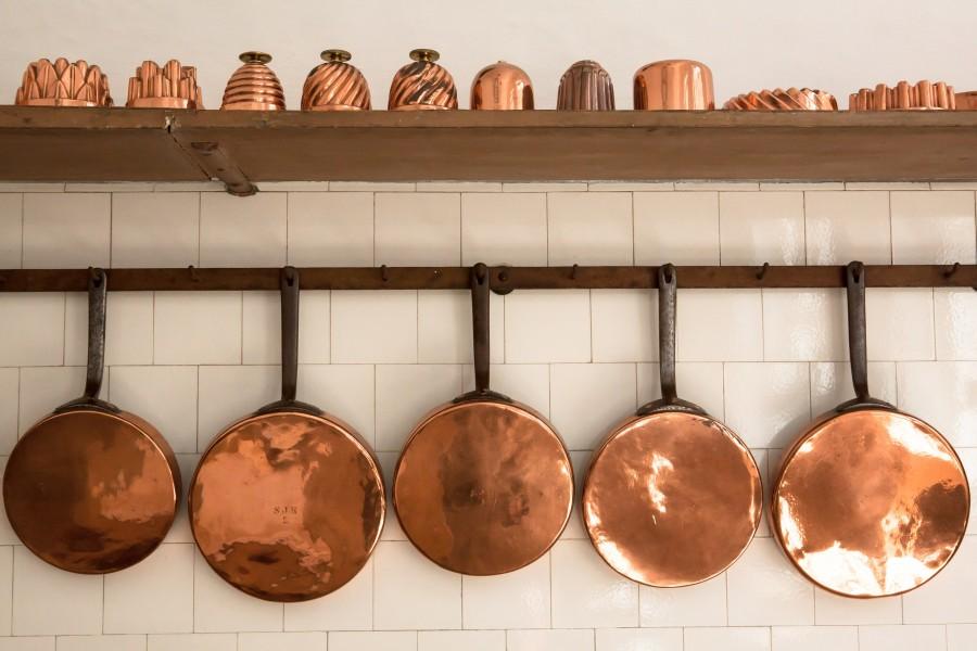 olla, ollas, sarten, sartenes, cocina, utensilio, interior, cobre, metal,