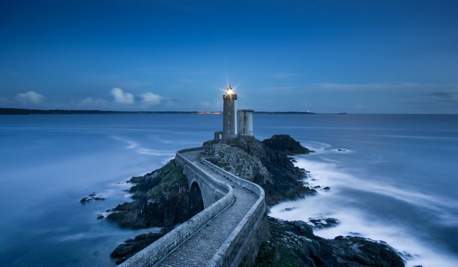 Plouzane, Francia, Europa, Noche, costa, arquitectura, nadie, paisaje, costa, Faro, luz, camino, concepto, guia, fondos de pantalla hd, fondos de pantalla 4k