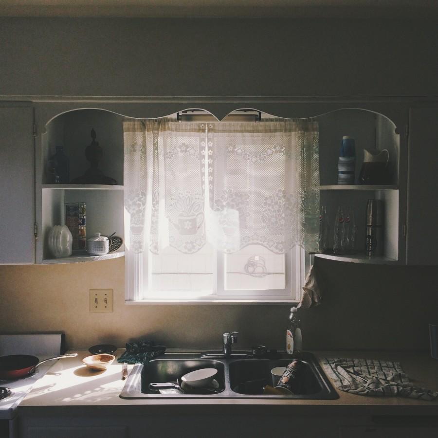 cocina, interior, sucio, platos, ventana, casa, nadie, lavar, lavabo,