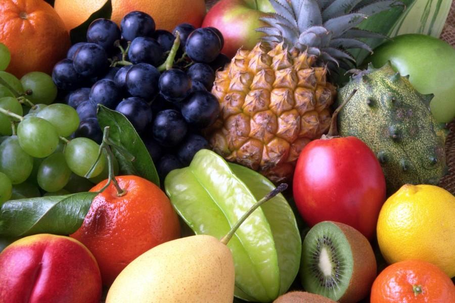 fruta, frutas, frutal, manzana, uvas, piña, naranja, colorido, nadie, background, fondo,