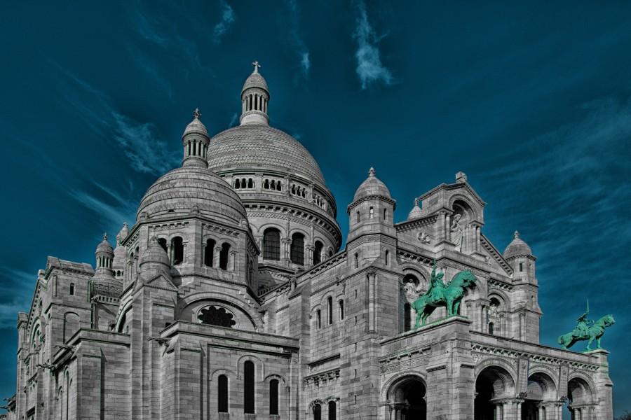 sacré coeur, parís, iglesia, francia, estructura, infraestructura, arquitectura, paisaje, cielo azul, religion, fe, mundo