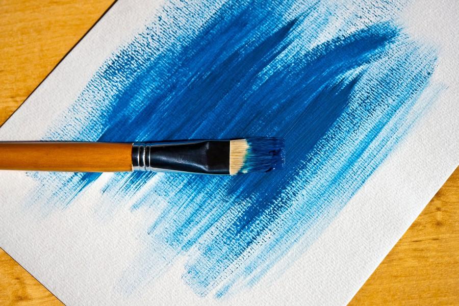 pincel, pintar, pintura, azul, abstracto, nadie, oleo, arte, color,