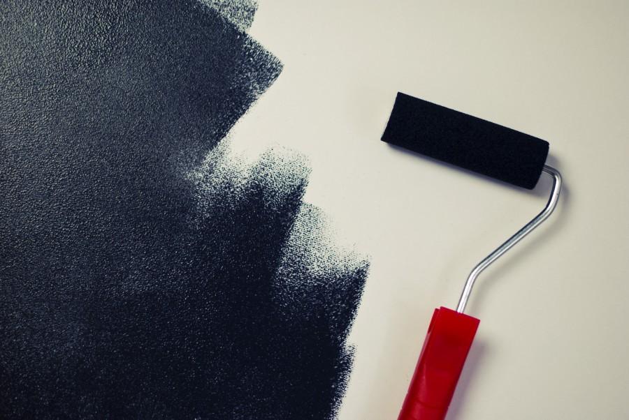 pintura, rodillo de pintura, negro, rodillo, pared, decoracion, interior,