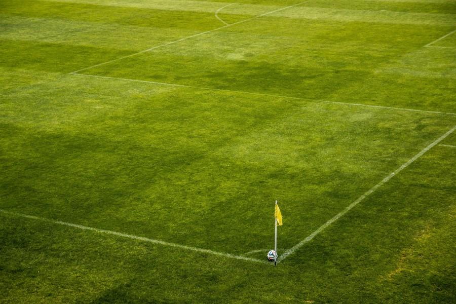 pelota, estadio, futbol, campo, juego, deporte, nadie, soccer, balon, corner, cesped,  cancha, esquina,