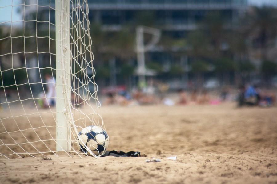 futbol, deporte pelota, arco, red, gol, arena, vista de frente, soccer, beach, playa
