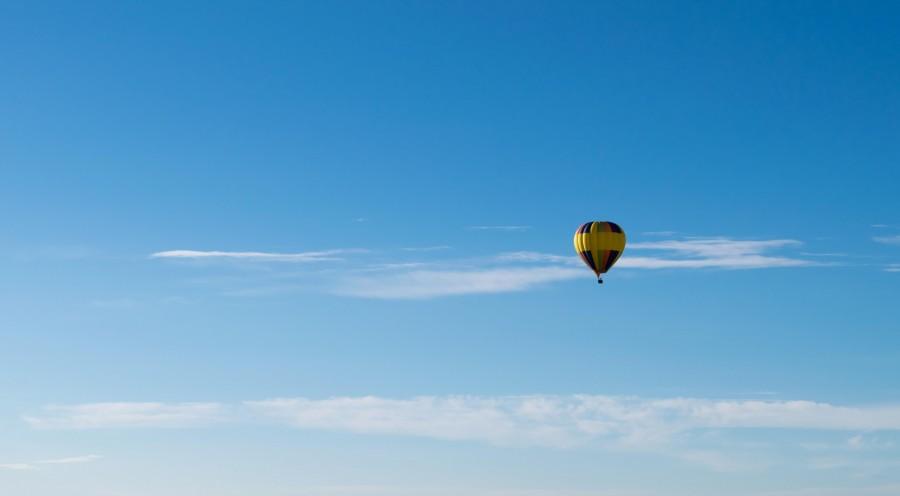 Globo aerostatico, cielo azul, cielo, volar, transporte, uno, paisaje, dia,