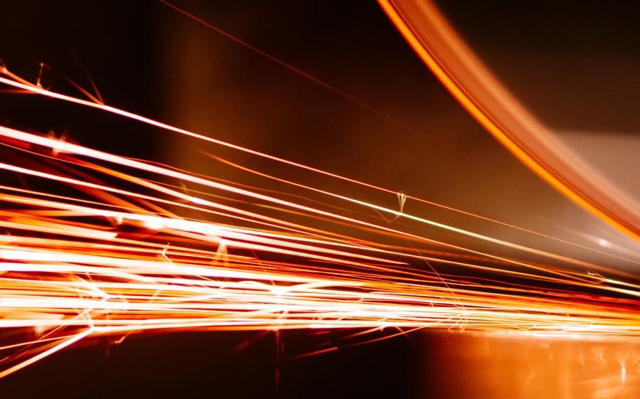 Orange, bastante, extracto, fondo, brillante, escritorio, electricidad, ingeniería, amoladora, chispas,