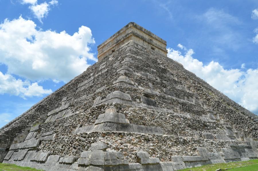 antiguo, templo, estructura, arquitectónico, cultura, Chichén Itzá, Yucatán, maya, pirámide, paisaje, cielo, nubes
