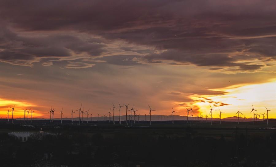 Turbina eolica, campo, electricidad, atardecer, energia, renovable, concepto, viento,