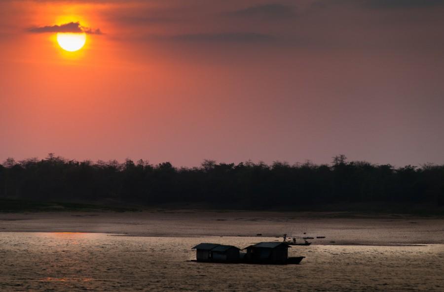 Vietnam, asia, paisaje, rio, atardecer, puesta de sol,