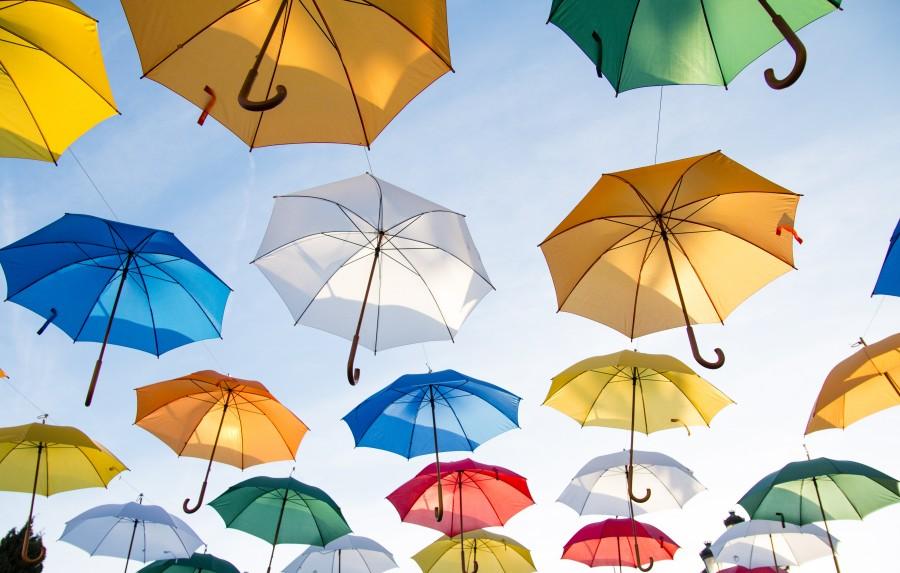 paragua, paraguas, cielo, concepto, color, colores, colorido, objeto, mucho, fondo, background,