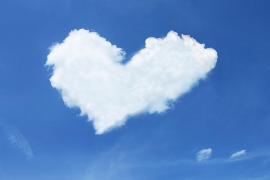 corazon, forma, cielo, nube, amor, concepto,