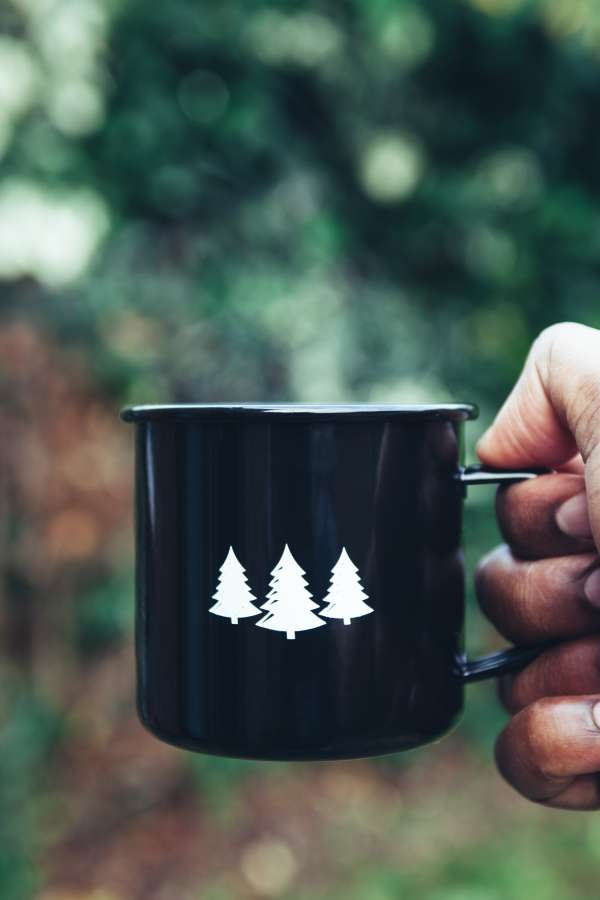 taza, cafe, navidad, arbol, dibujo, pino, concepto, desayuno, mano,