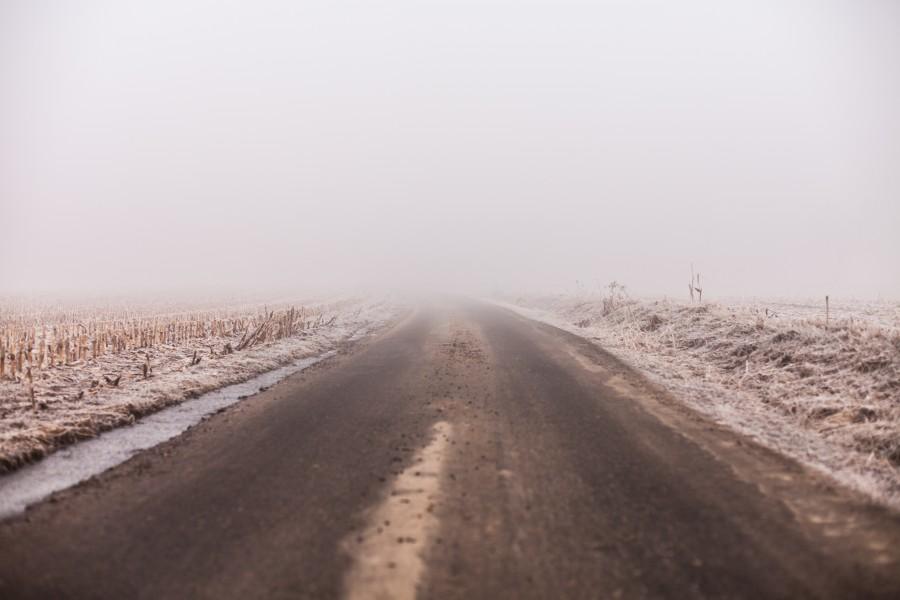dia, ruta, carretera, asfalto, niebla, horizonte, neblina,