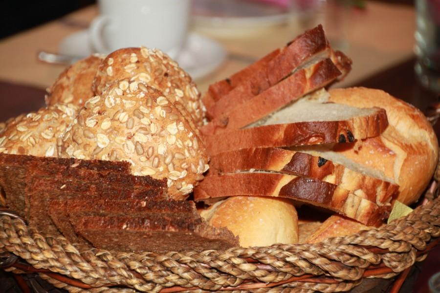 pan, rebanada, rodaja, casero, semillas, panera, comida,