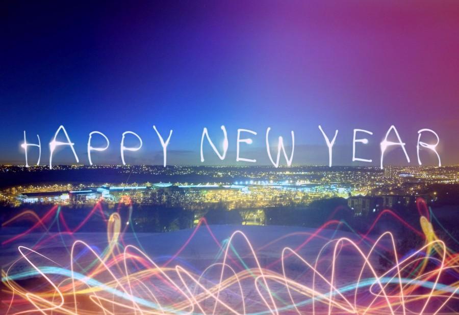 año nuevo, fin de año, 2017, concepto, luz, luces, ilustracion, ciudad, nocturno,