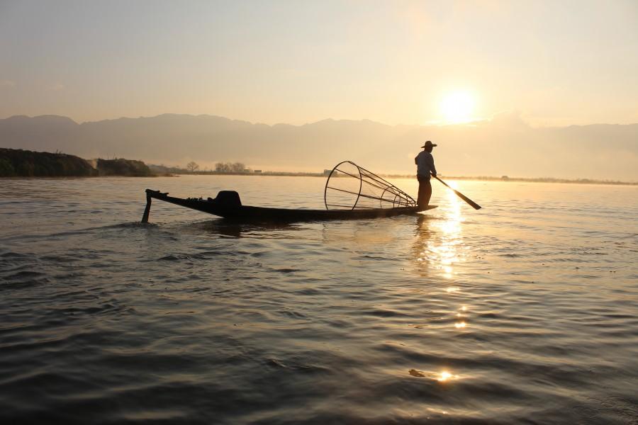 Birmania, pescador, pesca, lago, paisaje, Myanmar, asia, pesca, tradicional, atardecer,