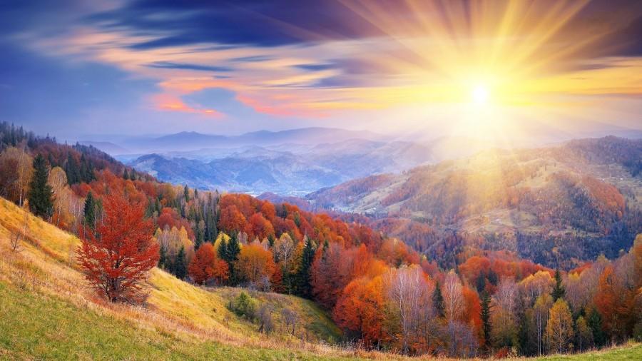 paisaje, dia, atardecer, rayo de sol, otoño, aire libre, exterior, montaña, nadie, naturaleza,