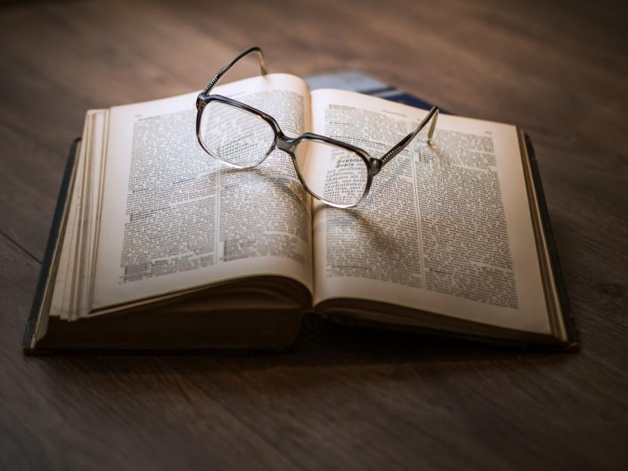 libro, anteojos, gafas, lentes, lectura, abierto, conocimiento, concepto, nadie,
