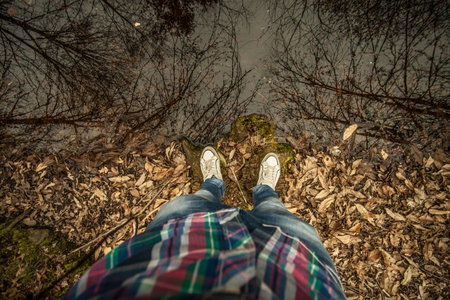rio, reflejo, costa, otoño, hombre, camisa, dia, costa, concepto, mirar, suelo, piso, naturaleza, exterior, aire libre, jean, hojas,