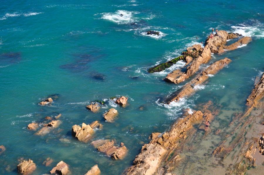 Playa, Rocas, Azul, Mar, Vista Aerea
