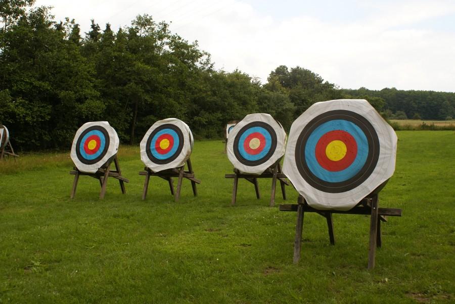 arco, tiro, blanco, circulo, punteria, deporte, precision, apuntar, olimpico, arqueria, tiro, objetivo, nadie,