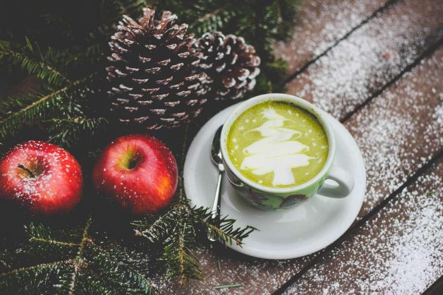 cafe, taza, navidad, verde, arbol, pino, pia, manzana, arte, dibujo,