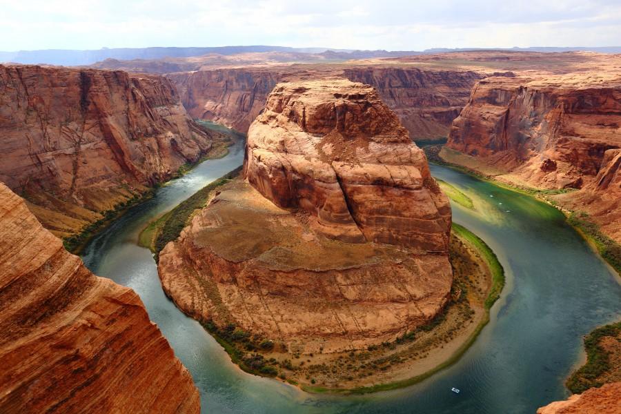 curva de herradura, paisaje americano, curva, cañón, paisaje, famoso, río colorado, arizona, estados unidos, glen canyon national recreation area , fondo de pantalla hd