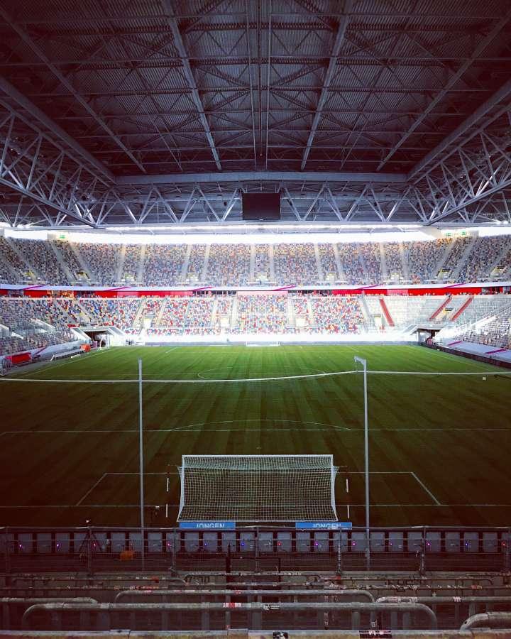 estadio, futbol, deporte, arco, porteria, iluminado, noche,