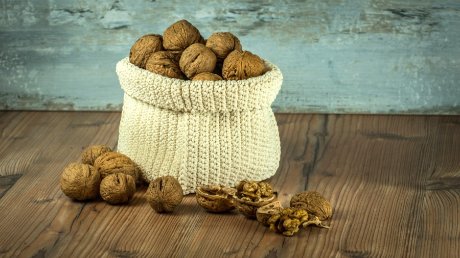 tuercas, cosecha, bolsa, marrón, salud, fondo, composición, mesa, comida, cáscara, nueces, frutas secas, proteínas, alimento, saludable, energético