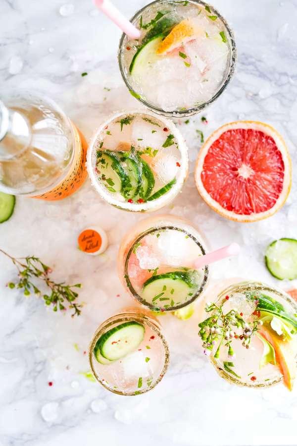 cocktail, bebida, hielo, alcoholica, pomelo, pepino, fresco, frescura, vaso, sorbete, rodaja, frutal, fruta,