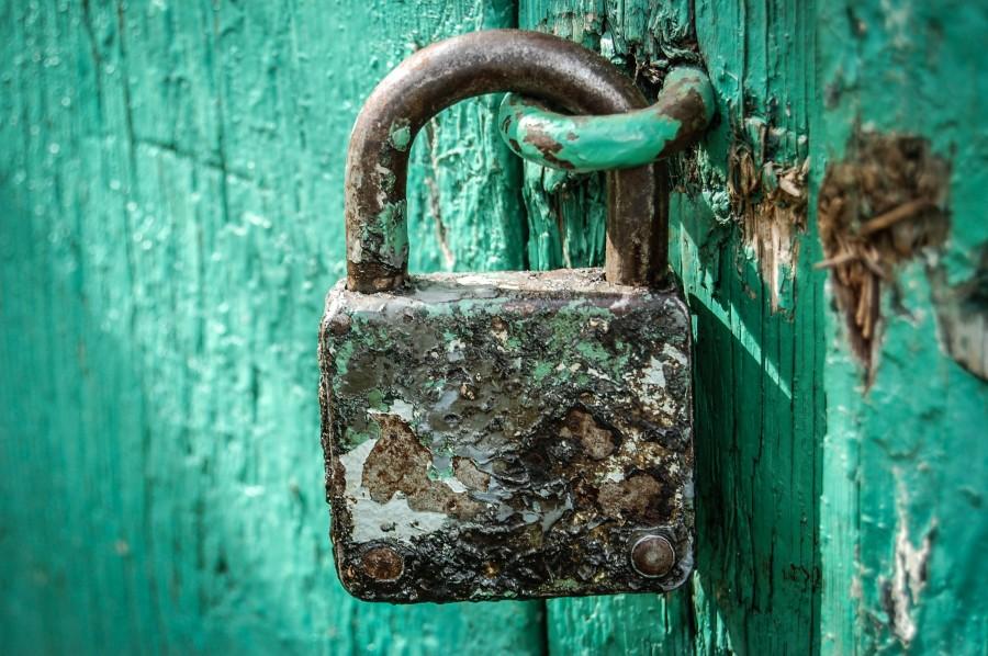 candado, puerta, color, cerrar, cerrado, seguridad, metal, viejo, antiguo, turquesa, verde, oxido,