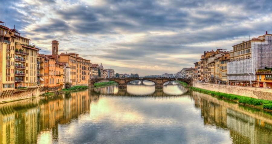 Arno, Florencia, Italia, rio, mediterráneo, nubes, oscuridad, puesta del sol, europa, florencia, arquitectura, señal, turismo, HDR